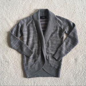 Forever 21 Gray Heart Stripe Cardigan Sweater S